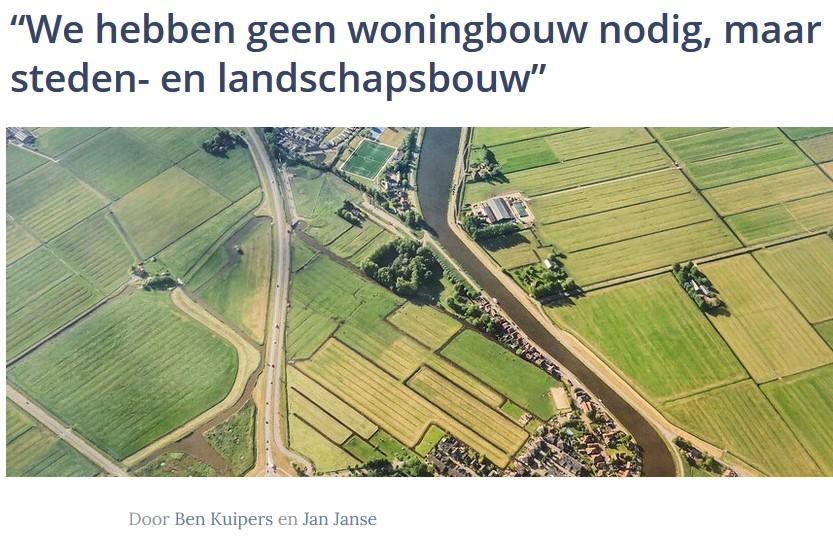 Geen woningbouw, maar steden- en landschapsbouw